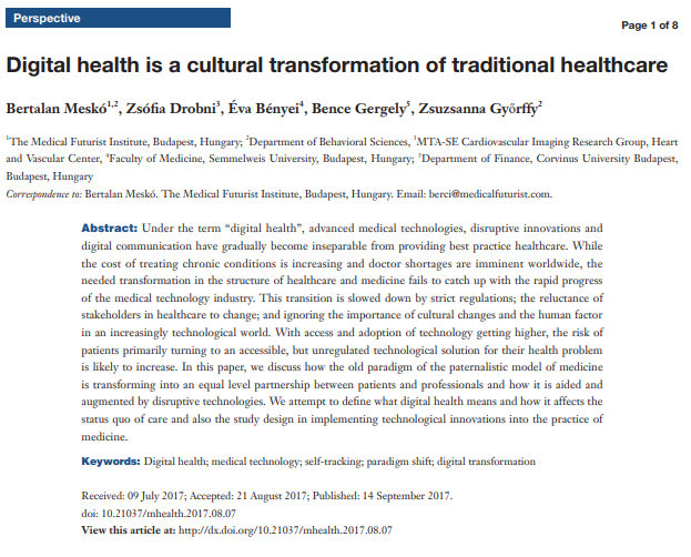 Digital health is a cultural transformation of traditional healthcare.